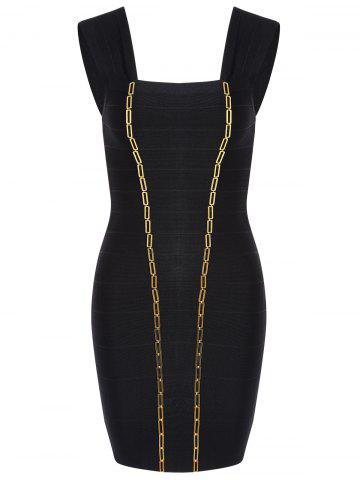 Night Out Metal Embellished Bandage Dress - Black - L