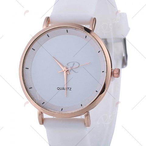 Affordable Silicone Strap Minimalist Round Watch - WHITE  Mobile