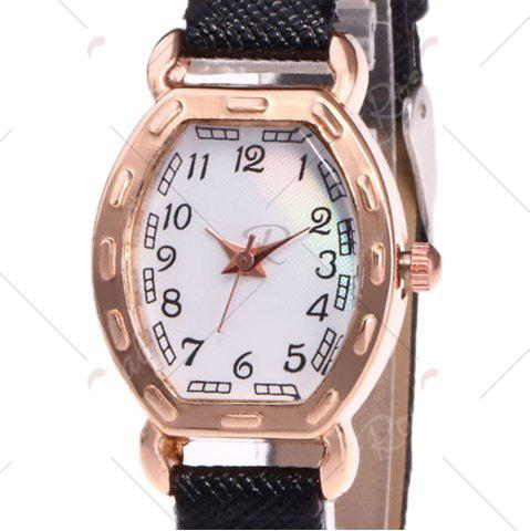 Trendy Faux Leather Band Number Watch - BLACK  Mobile