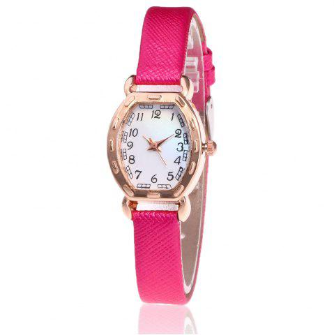 Trendy Faux Leather Band Number Watch