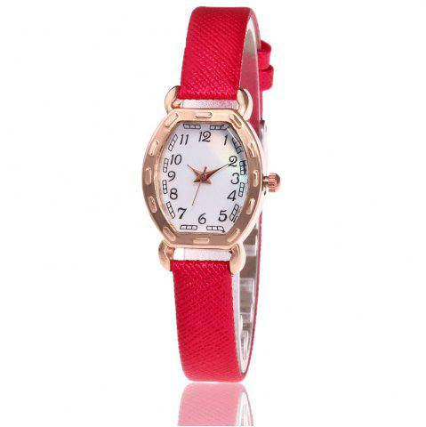 Online Faux Leather Band Number Watch RED