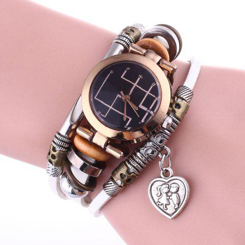 Lover Heart Layered Charm Bracelet Watch Blanc