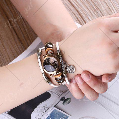 Affordable Lover Heart Layered Charm Bracelet Watch - WHITE  Mobile