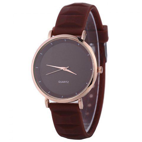 Cheap Silicone Strap Minimalist Round Watch BROWN