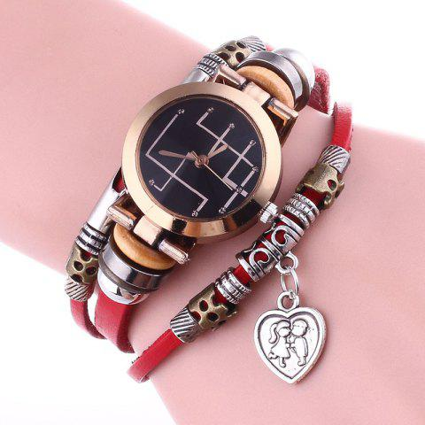 New Lover Heart Layered Charm Bracelet Watch - RED  Mobile
