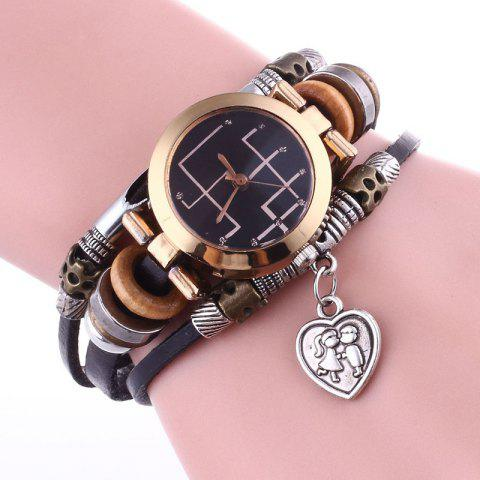 Outfit Lover Heart Layered Charm Bracelet Watch - BLACK  Mobile