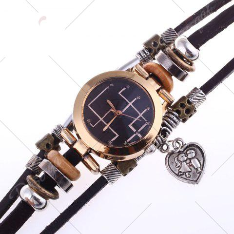 Chic Lover Heart Layered Charm Bracelet Watch - BLACK  Mobile