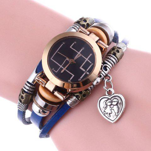 Discount Lover Heart Layered Charm Bracelet Watch - BLUE  Mobile