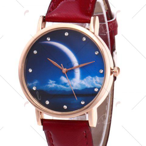 Online Night View Face Faux Leather Strap Rhinestone Watch - RED  Mobile