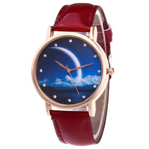 Shops Night View Face Faux Leather Strap Rhinestone Watch - RED  Mobile
