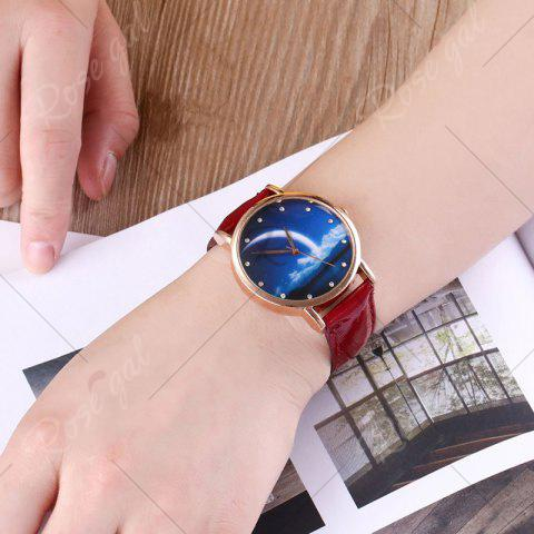 Outfit Night View Face Faux Leather Strap Rhinestone Watch - RED  Mobile