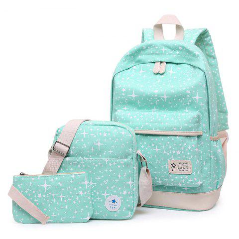 New Star Print 3 Pieces Canvas Backpack Set GREEN