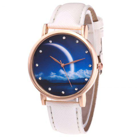 Latest Night View Face Faux Leather Strap Rhinestone Watch