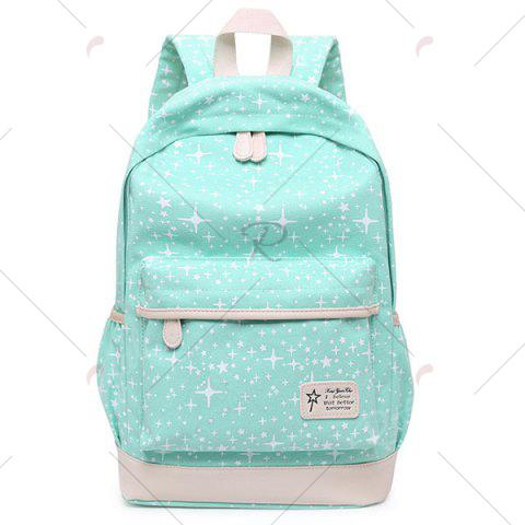 Best Star Print 3 Pieces Canvas Backpack Set - GREEN  Mobile