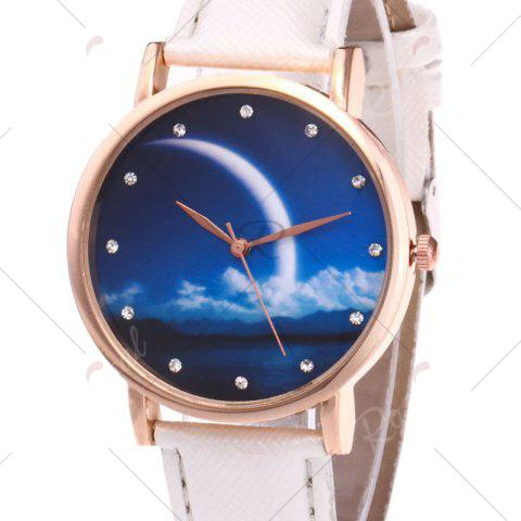 Affordable Night View Face Faux Leather Strap Rhinestone Watch - WHITE  Mobile