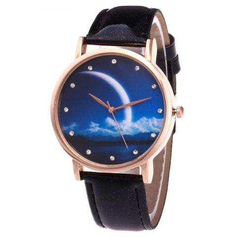 Best Night View Face Faux Leather Strap Rhinestone Watch BLACK