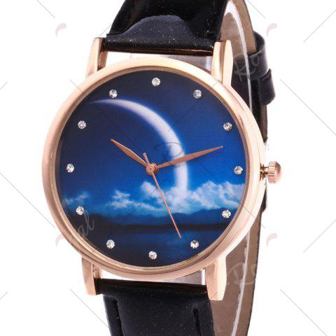 Sale Night View Face Faux Leather Strap Rhinestone Watch - BLACK  Mobile