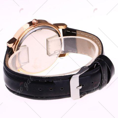 Cheap Night View Face Faux Leather Strap Rhinestone Watch - BLACK  Mobile