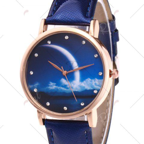 Affordable Night View Face Faux Leather Strap Rhinestone Watch - ROYAL  Mobile