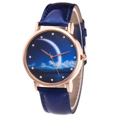 Chic Night View Face Faux Leather Strap Rhinestone Watch