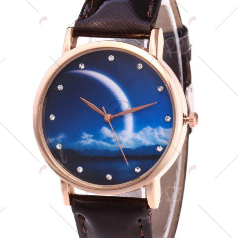 Online Night View Face Faux Leather Strap Rhinestone Watch - BROWN  Mobile