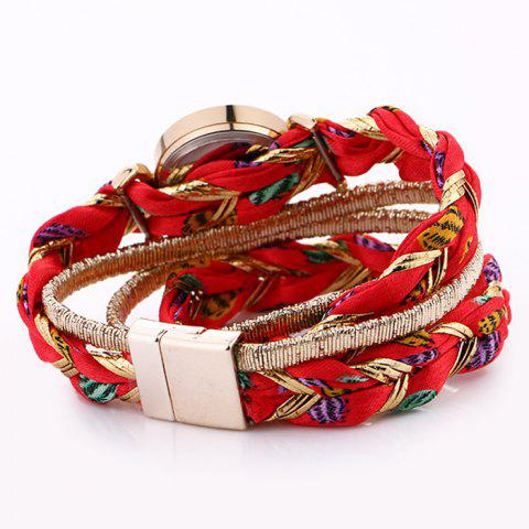 Hot Braided Strap Wrap Bracele Watch - RED  Mobile