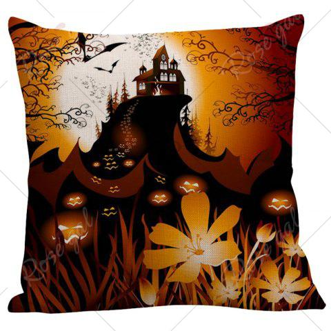 Affordable Pumpkin Face Floral Pattern Square Pillow Case - W18 INCH * L18 INCH BLACK AND ORANGE Mobile