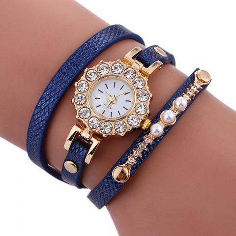 Latest Rhinestone Sun Shape Wrap Bracelet Watch BLUE