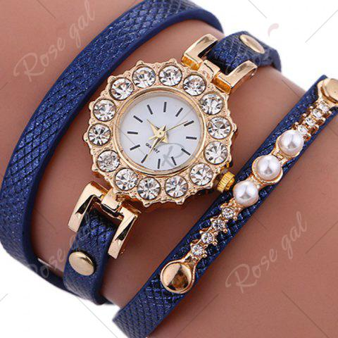 Trendy Rhinestone Sun Shape Wrap Bracelet Watch - BLUE  Mobile