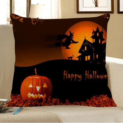 Store Halloween Pumpkin Sorcerer Printed Pillowcase BLACK AND ORANGE W18 INCH * L18 INCH