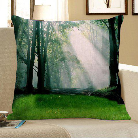 Online Morning Sunshine Forest Pattern Pillowcase - W18 INCH * L18 INCH GREEN Mobile