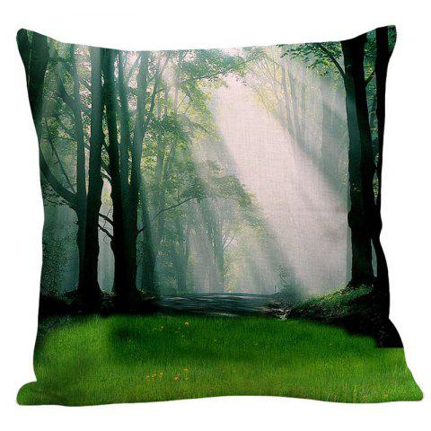 Latest Morning Sunshine Forest Pattern Pillowcase - W18 INCH * L18 INCH GREEN Mobile