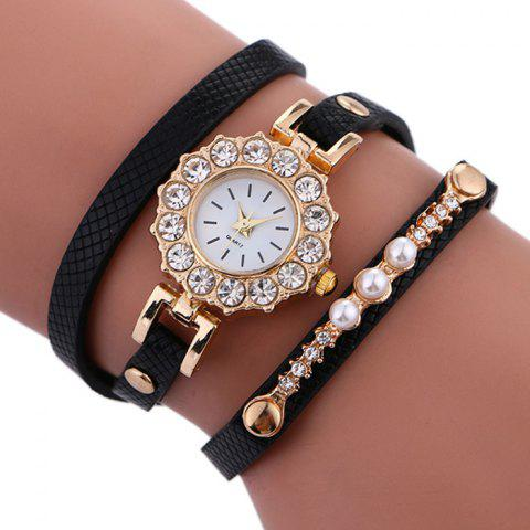 Shop Rhinestone Sun Shape Wrap Bracelet Watch BLACK