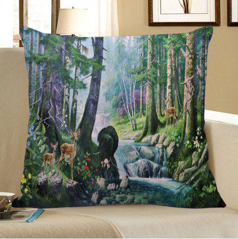 Chic Floral Stream Fawn Printed Square Pillow Case - W18 INCH * L18 INCH COLORMIX Mobile