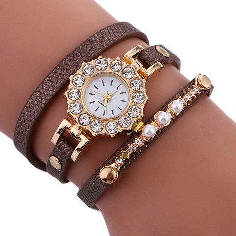 Affordable Rhinestone Sun Shape Wrap Bracelet Watch