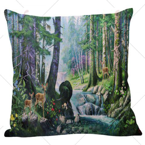 Discount Floral Stream Fawn Printed Square Pillow Case - W18 INCH * L18 INCH COLORMIX Mobile