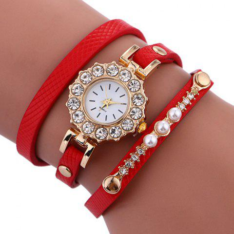 Sale Rhinestone Sun Shape Wrap Bracelet Watch