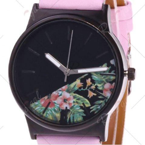 Fashion Faux Leather Strap Flower Plants Face Watch - PINK  Mobile