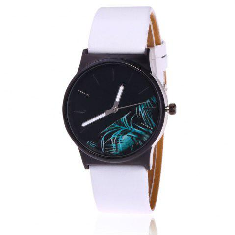 Faux Leather Strap Flower Plants Face Watch Blanc