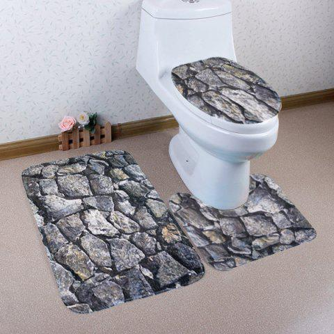 Outfit 3 Pieces Rock Pattern Coral Fleece Bathroom Mats Set - GRAY  Mobile