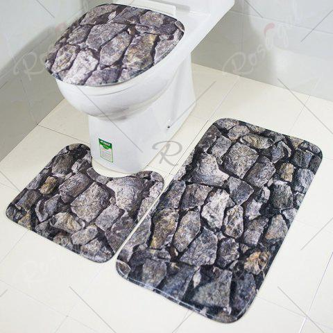 Chic 3 Pieces Rock Pattern Coral Fleece Bathroom Mats Set - GRAY  Mobile