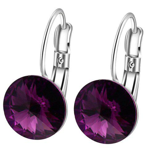 Cheap Faux Diamond Drop Clip Earrings - PURPLE  Mobile