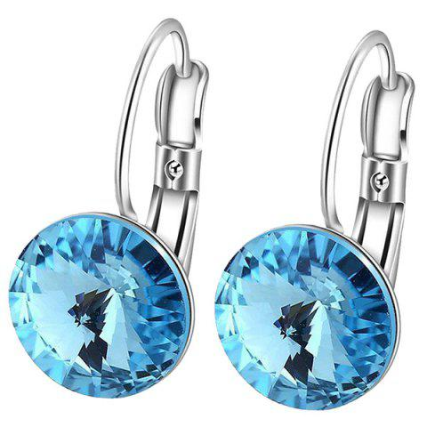 Online Faux Diamond Drop Clip Earrings LAKE BLUE