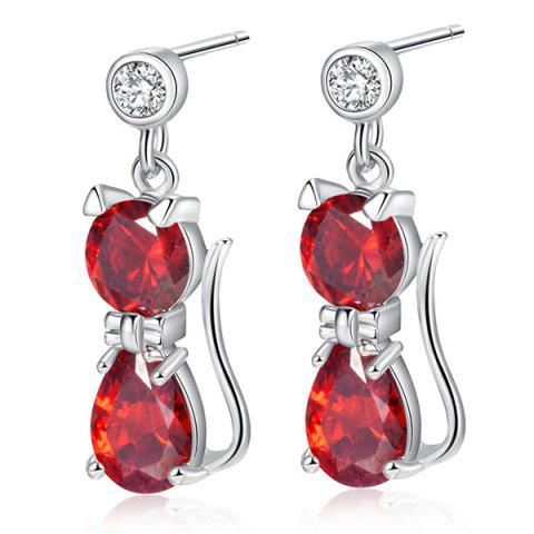 New Cat Design Faux Diamond Inlaid Drop Earrings BRIGHT RED