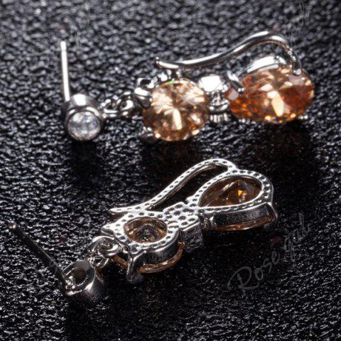 Online Cat Design Faux Diamond Inlaid Drop Earrings - CHAMPAGNE GOLD  Mobile