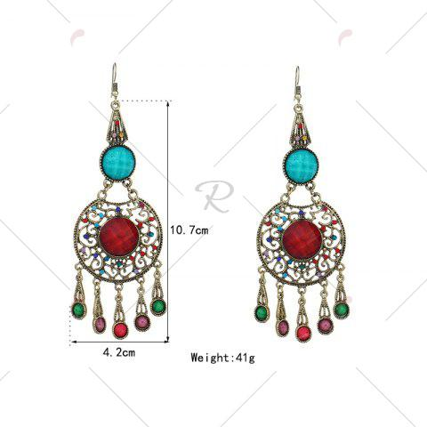 Outfit Faux Gem Insert Ethnic Fish Hook Earrings - COLORMIX  Mobile