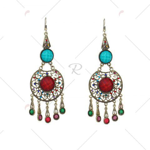 Fashion Faux Gem Insert Ethnic Fish Hook Earrings - COLORMIX  Mobile