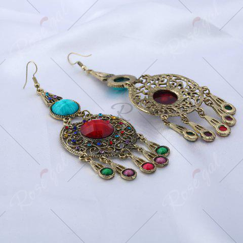 Shops Faux Gem Insert Ethnic Fish Hook Earrings - COLORMIX  Mobile