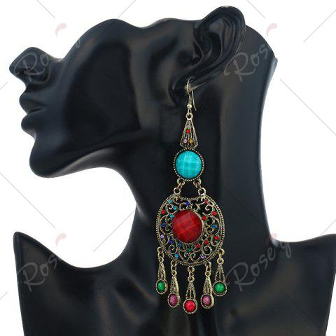 Unique Faux Gem Insert Ethnic Fish Hook Earrings - COLORMIX  Mobile