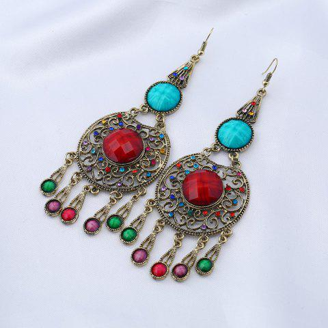 Buy Faux Gem Insert Ethnic Fish Hook Earrings - COLORMIX  Mobile